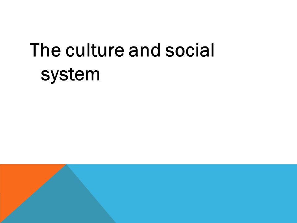 The culture and social system
