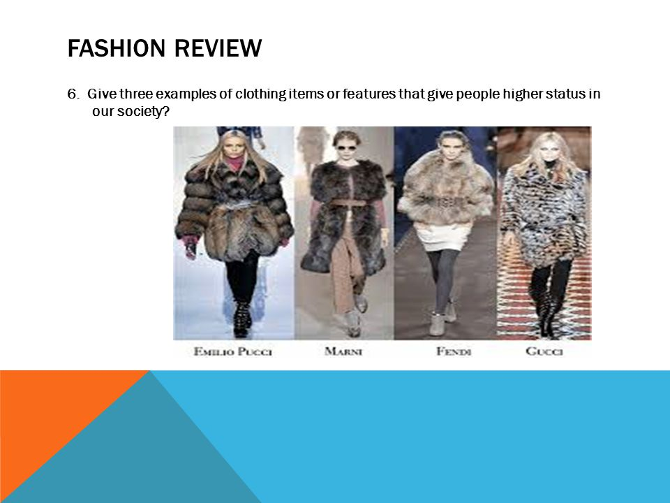 FASHION REVIEW 6. Give three examples of clothing items or features that give people higher status in our society?