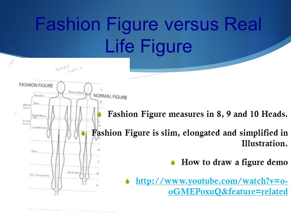 Fashion Figure versus Real Life Figure Fashion Figure measures in 8, 9 and 10 Heads.