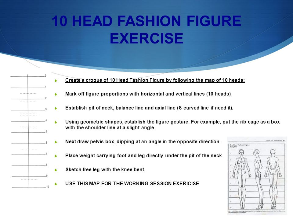 10 HEAD FASHION FIGURE EXERCISE Create a croque of 10 Head Fashion Figure by following the map of 10 heads: Mark off figure proportions with horizontal and vertical lines (10 heads) Establish pit of neck, balance line and axial line (S curved line if need it).