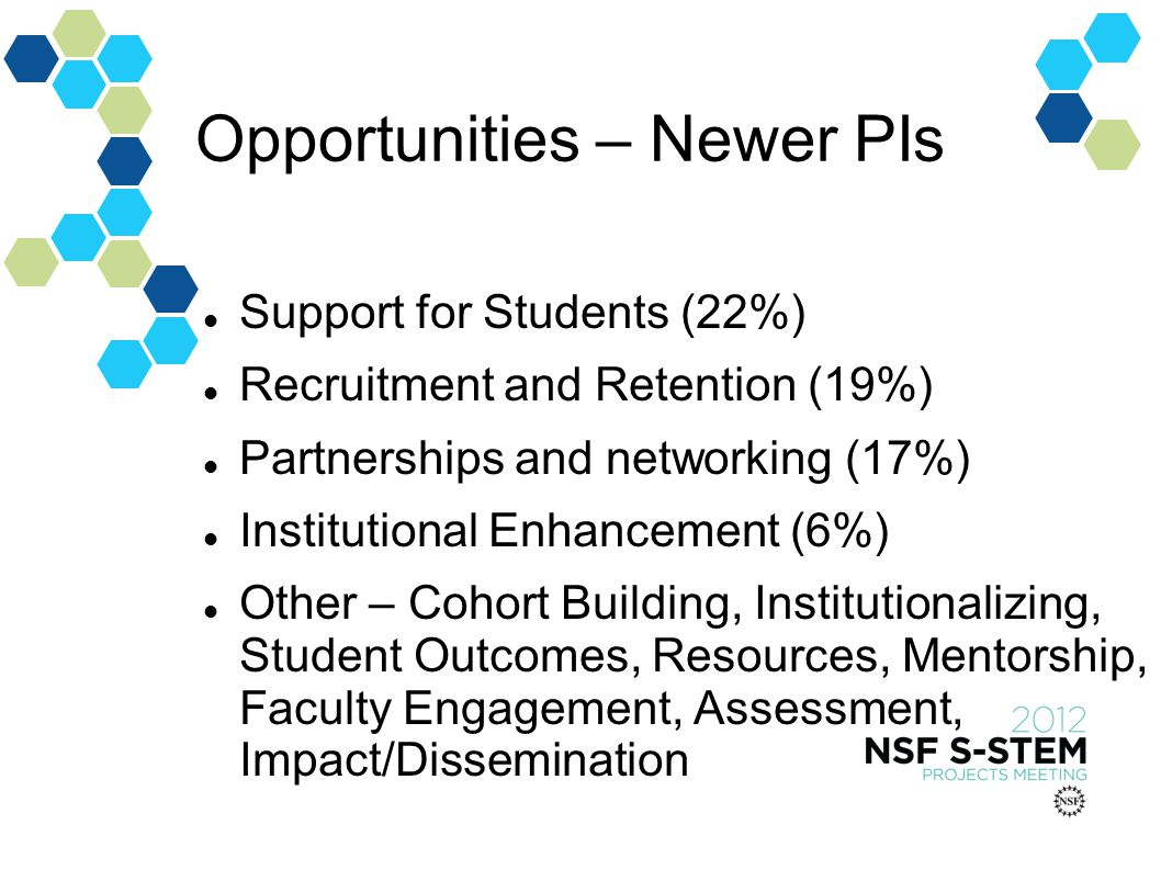 Opportunities – Newer PIs Support for Students (22%) Recruitment and Retention (19%) Partnerships and networking (17%) Institutional Enhancement (6%) Other – Cohort Building, Institutionalizing, Student Outcomes, Resources, Mentorship, Faculty Engagement, Assessment, Impact/Dissemination