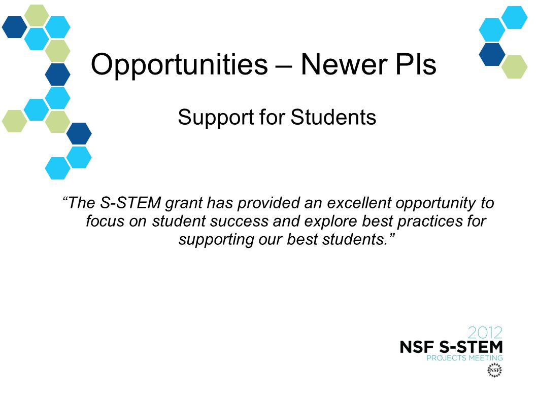 Opportunities – Newer PIs Support for Students The S-STEM grant has provided an excellent opportunity to focus on student success and explore best practices for supporting our best students.
