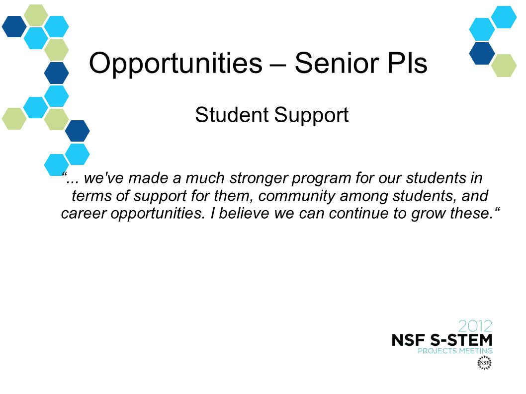 Opportunities – Senior PIs Student Support...