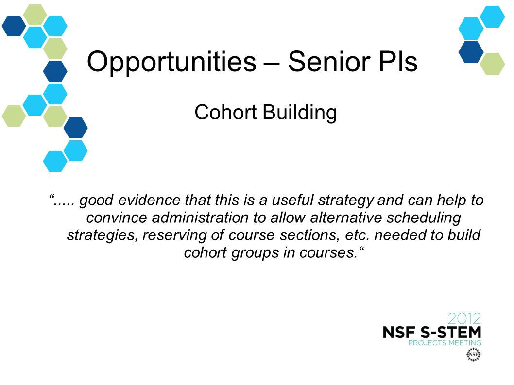 Opportunities – Senior PIs Cohort Building.....