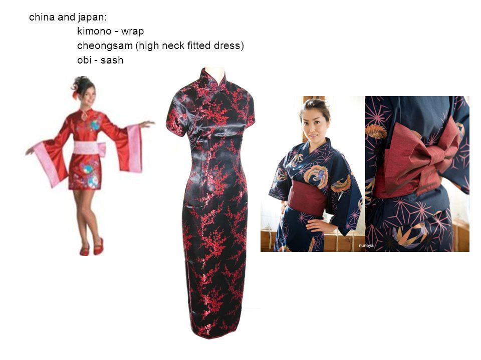 china and japan: kimono - wrap cheongsam (high neck fitted dress) obi - sash
