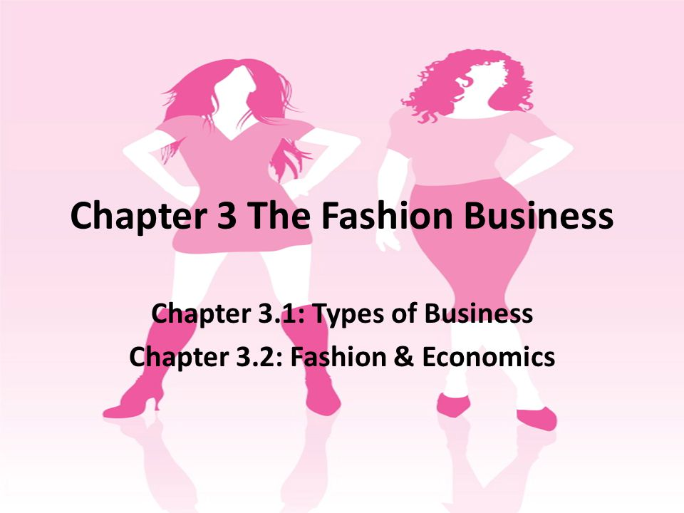 Chapter 3 The Fashion Business Chapter 3.1: Types of Business Chapter 3.2: Fashion & Economics