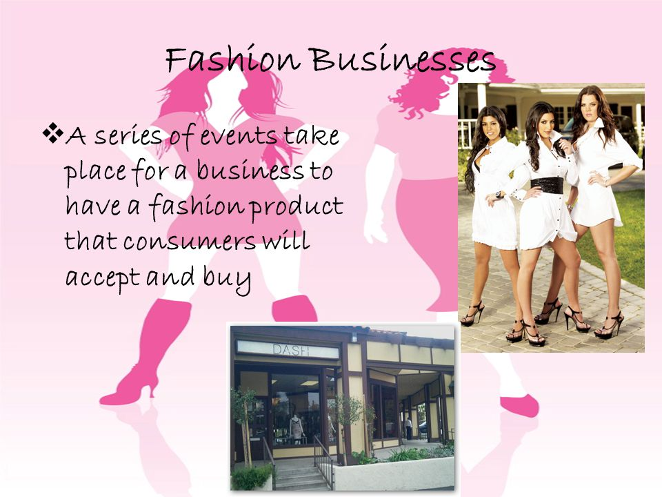 Fashion Businesses A series of events take place for a business to have a fashion product that consumers will accept and buy