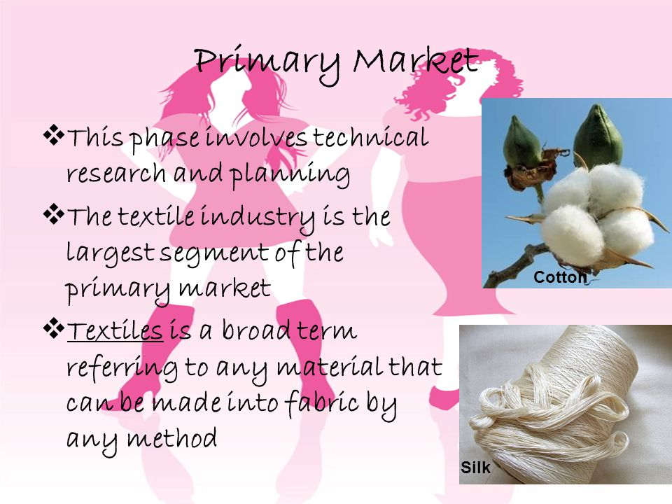 Primary Market This phase involves technical research and planning The textile industry is the largest segment of the primary market Textiles is a broad term referring to any material that can be made into fabric by any method Cotton Silk