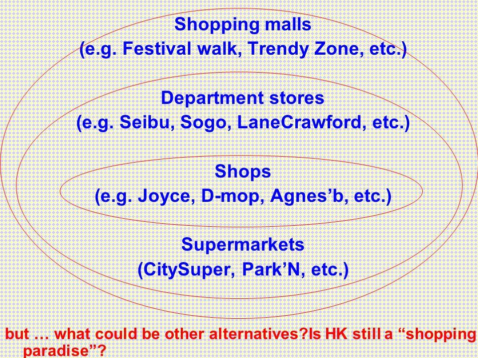 Shopping malls (e.g. Festival walk, Trendy Zone, etc.) Department stores (e.g. Seibu, Sogo, LaneCrawford, etc.) Shops (e.g. Joyce, D-mop, Agnesb, etc.
