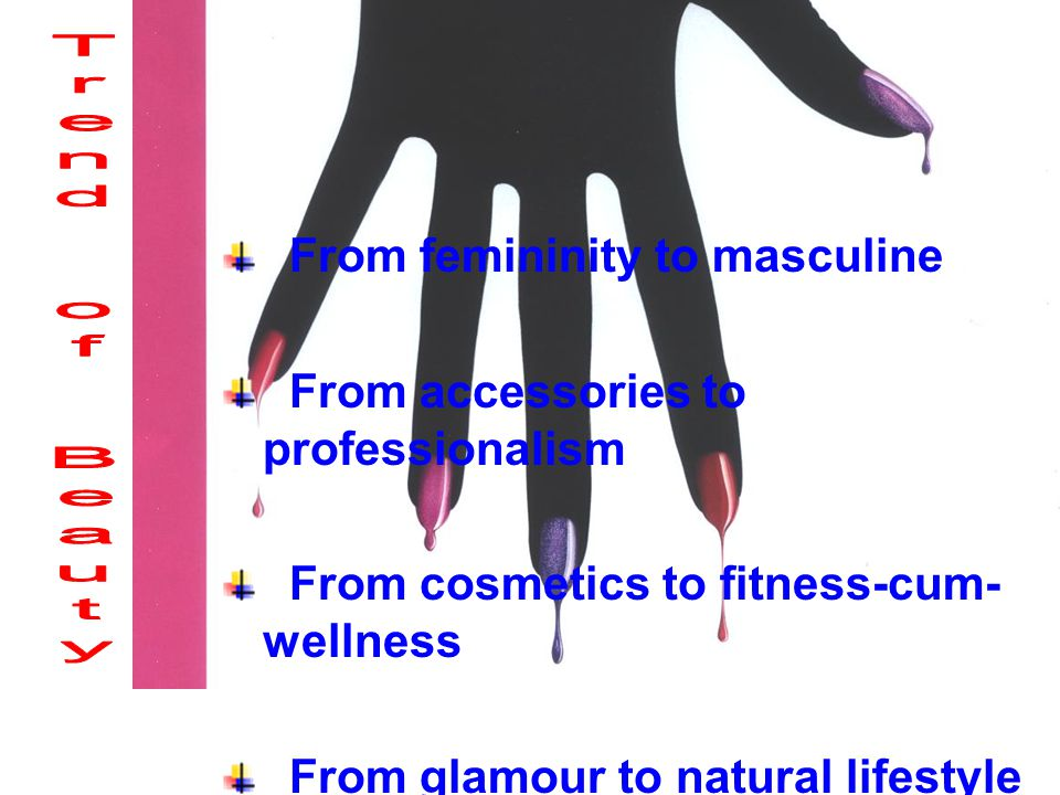 From femininity to masculine From accessories to professionalism From cosmetics to fitness-cum- wellness From glamour to natural lifestyle