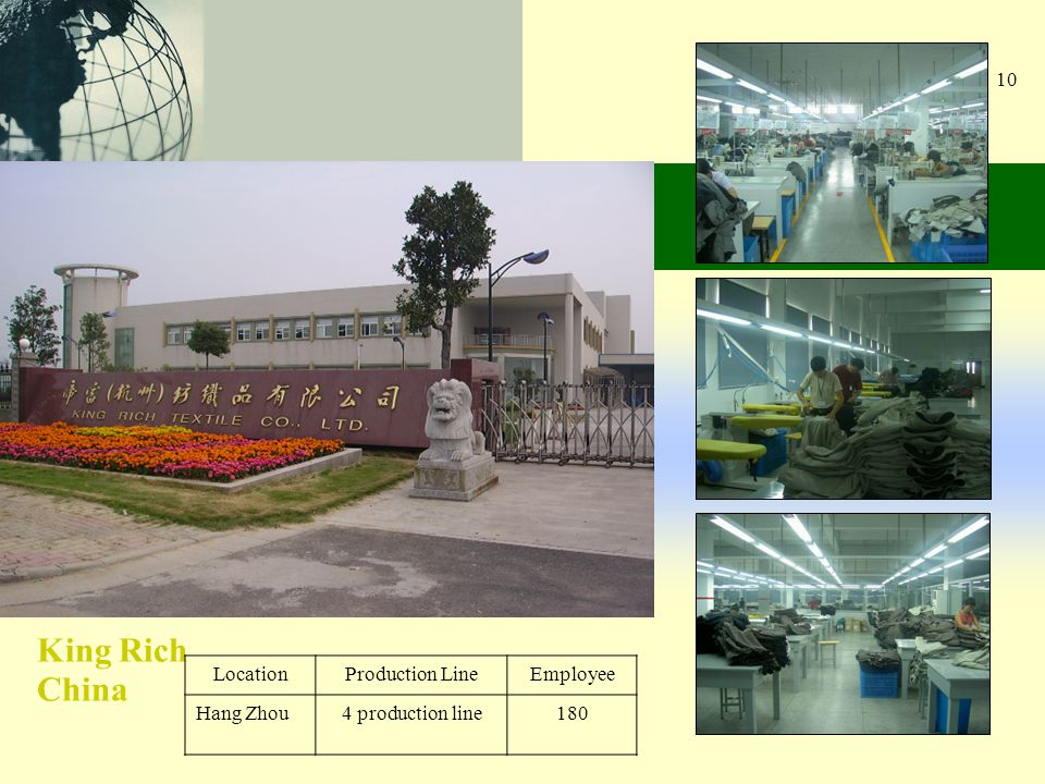 10 King Rich China LocationProduction LineEmployee Hang Zhou4 production line180