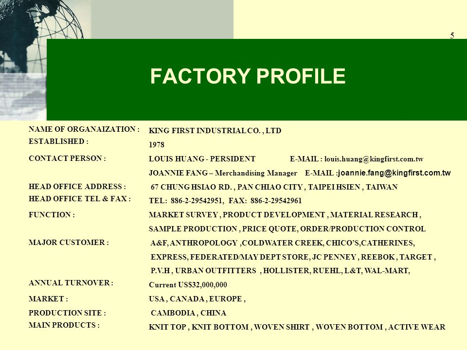 5 NAME OF ORGANAIZATION : ESTABLISHED : CONTACT PERSON : HEAD OFFICE ADDRESS : HEAD OFFICE TEL & FAX : FUNCTION : MAJOR CUSTOMER : ANNUAL TURNOVER : MARKET : PRODUCTION SITE : MAIN PRODUCTS : FACTORY PROFILE KING FIRST INDUSTRIAL CO., LTD 1978 LOUIS HUANG - PERSIDENT E-MAIL : louis.huang@kingfirst.com.tw JOANNIE FANG – Merchandising Manager E-MAIL : joannie.fang@kingfirst.com.tw 67 CHUNG HSIAO RD., PAN CHIAO CITY, TAIPEI HSIEN, TAIWAN TEL: 886-2-29542951, FAX: 886-2-29542961 MARKET SURVEY, PRODUCT DEVELOPMENT, MATERIAL RESEARCH, SAMPLE PRODUCTION, PRICE QUOTE, ORDER/PRODUCTION CONTROL A&F, ANTHROPOLOGY,COLDWATER CREEK, CHICOS,CATHERINES, EXPRESS, FEDERATED/MAY DEPT STORE, JC PENNEY, REEBOK, TARGET, P.V.H, URBAN OUTFITTERS, HOLLISTER, RUEHL, L&T, WAL-MART, Current US$32,000,000 USA, CANADA, EUROPE, CAMBODIA, CHINA KNIT TOP, KNIT BOTTOM, WOVEN SHIRT, WOVEN BOTTOM, ACTIVE WEAR