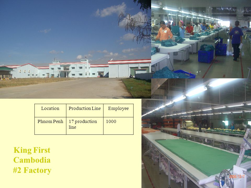 9 LocationProduction LineEmployee Phnom Penh17 production line 1000 King First Cambodia #2 Factory