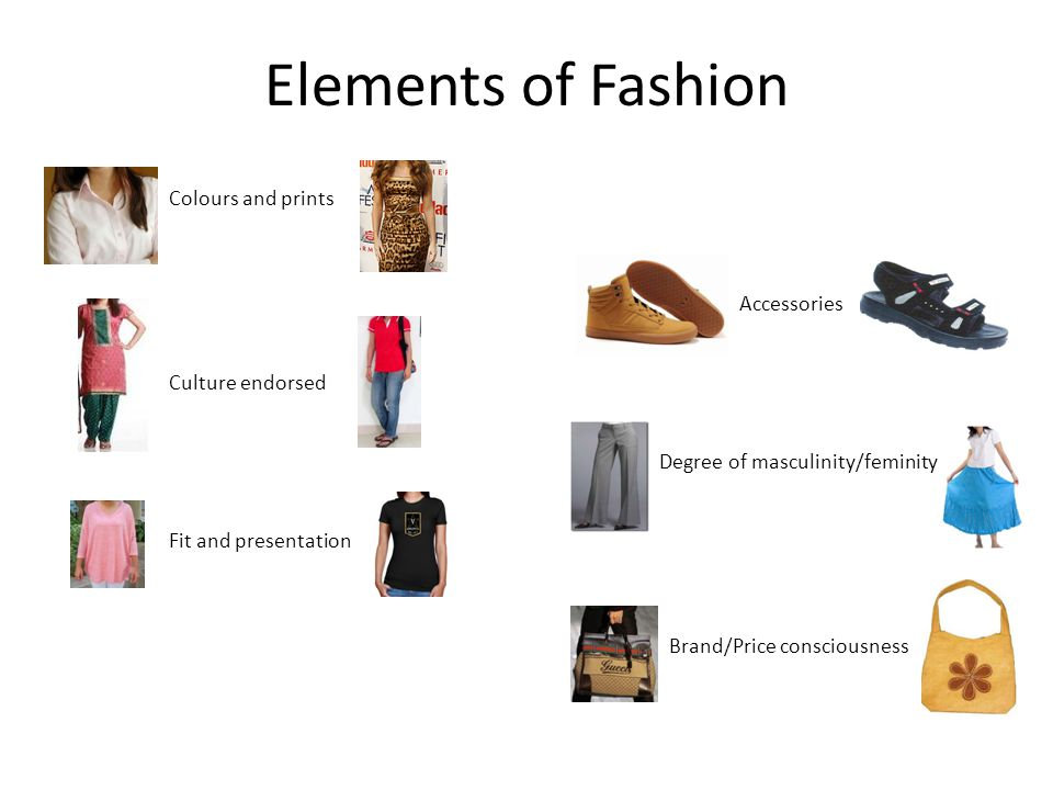 Elements of Fashion Colours and prints Accessories Culture endorsed Degree of masculinity/feminity Fit and presentation Brand/Price consciousness