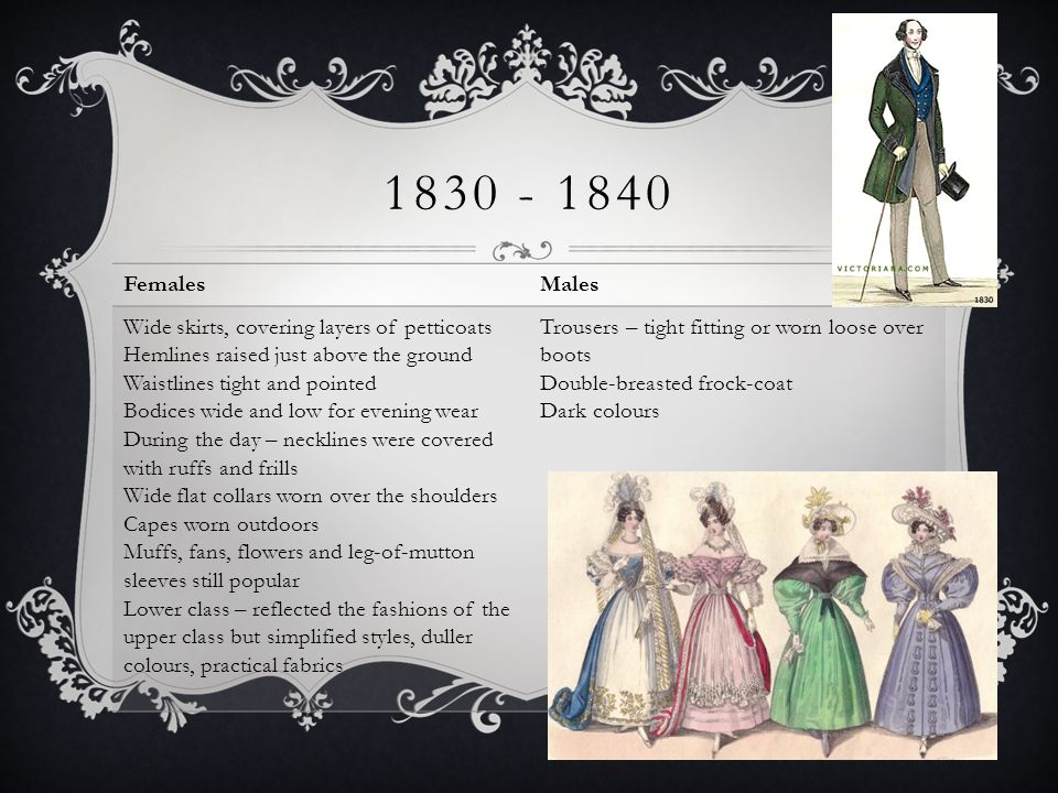 1830 - 1840 FemalesMales Wide skirts, covering layers of petticoats Hemlines raised just above the ground Waistlines tight and pointed Bodices wide an