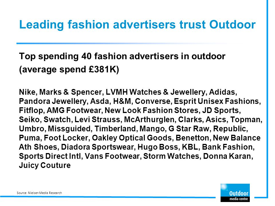 Leading fashion advertisers trust Outdoor Top spending 40 fashion advertisers in outdoor (average spend £381K) Nike, Marks & Spencer, LVMH Watches & J