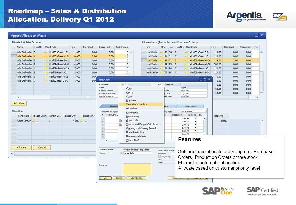 Roadmap – Sales & Distribution Allocation.