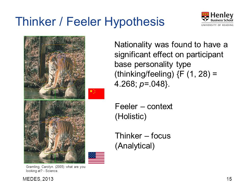 MEDES, 201315 Thinker / Feeler Hypothesis Nationality was found to have a significant effect on participant base personality type (thinking/feeling) {