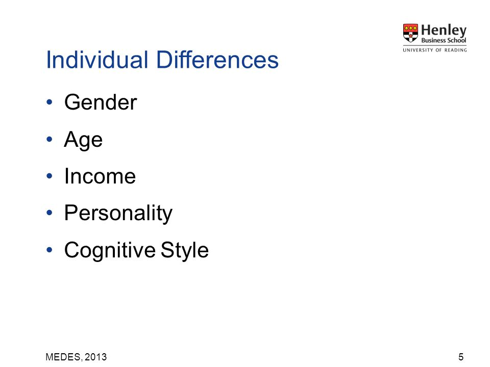 MEDES, 2013 Gender Age Income Personality Cognitive Style 5 Individual Differences