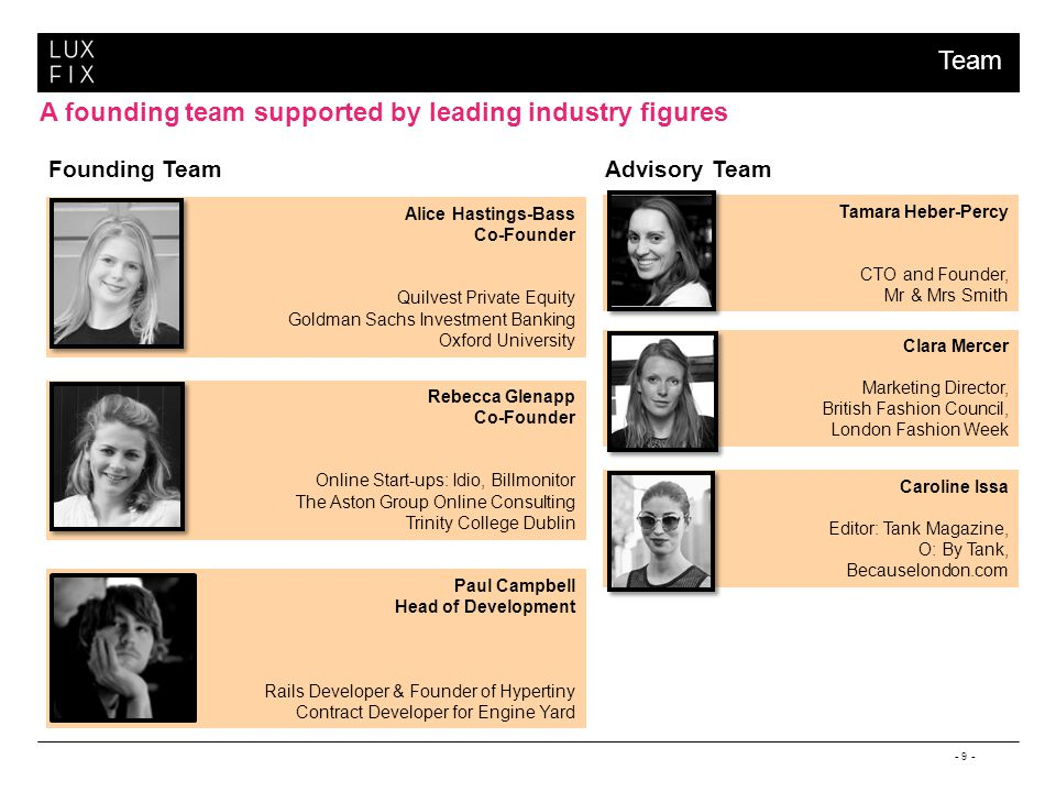 - 9 - A founding team supported by leading industry figures Alice Hastings-Bass Co-Founder Quilvest Private Equity Goldman Sachs Investment Banking Oxford University Caroline Issa Editor: Tank Magazine, O: By Tank, Becauselondon.com Clara Mercer Marketing Director, British Fashion Council, London Fashion Week Tamara Heber-Percy CTO and Founder, Mr & Mrs Smith Founding TeamAdvisory Team Rebecca Glenapp Co-Founder Online Start-ups: Idio, Billmonitor The Aston Group Online Consulting Trinity College Dublin Paul Campbell Head of Development Rails Developer & Founder of Hypertiny Contract Developer for Engine Yard Team