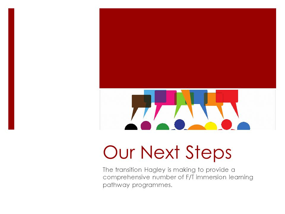 Our Next Steps The transition Hagley is making to provide a comprehensive number of F/T immersion learning pathway programmes.