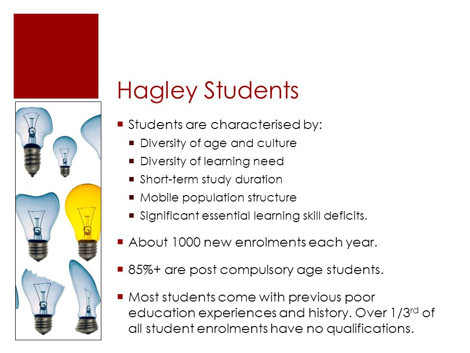 Hagley Students Students are characterised by: Diversity of age and culture Diversity of learning need Short-term study duration Mobile population str