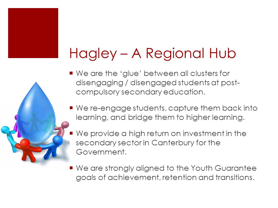 Hagley – A Regional Hub We are the glue between all clusters for disengaging / disengaged students at post- compulsory secondary education. We re-enga