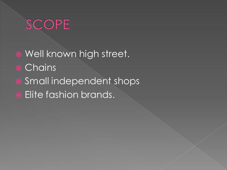 Well known high street. Chains Small independent shops Elite fashion brands.