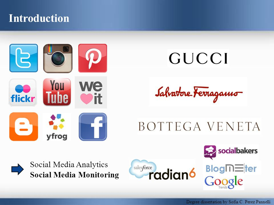 Luxury Fashion Brands & the Web Luxury fashion brands personality traits Luxury fashion in the era of the Web Bloggers & users, fans & customers Mobile devices E-commerce Digital communication platforms & content Social media Advantages & risks Noteworthy trends Luxury fashion brands & digital marketing strategy Engagement – wide audience: fans & aspirational customers Exclusivity – niche: established customers & insiders Degree dissertation by Sofìa C.