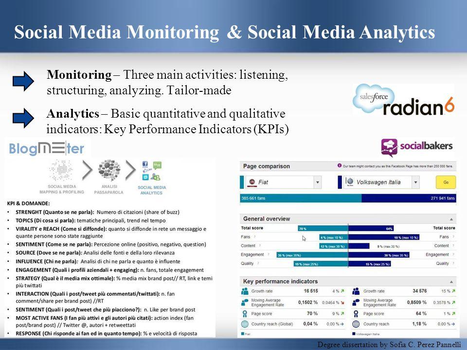 Social Media Monitoring & Social Media Analytics Analytics – Basic quantitative and qualitative indicators: Key Performance Indicators (KPIs) Monitoring – Three main activities: listening, structuring, analyzing.