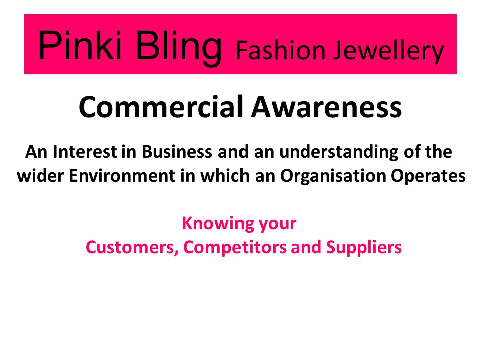 Pinki Bling Fashion Jewellery Commercial Awareness An Interest in Business and an understanding of the wider Environment in which an Organisation Operates Knowing your Customers, Competitors and Suppliers