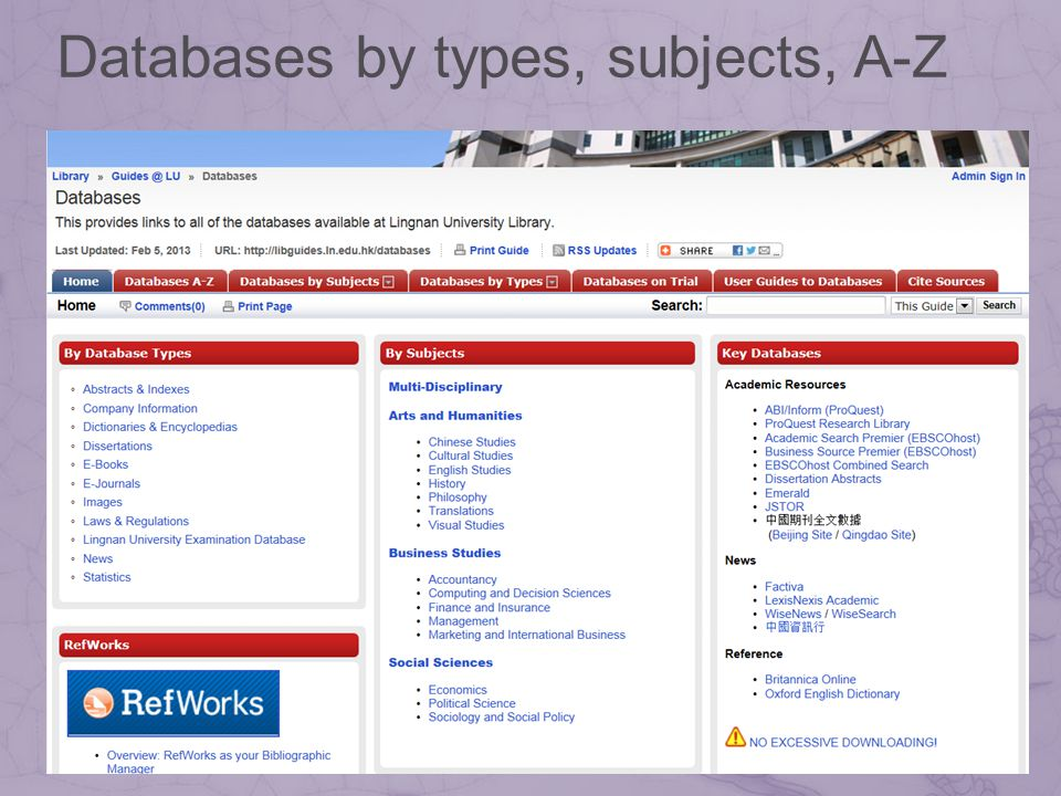 Databases by types, subjects, A-Z