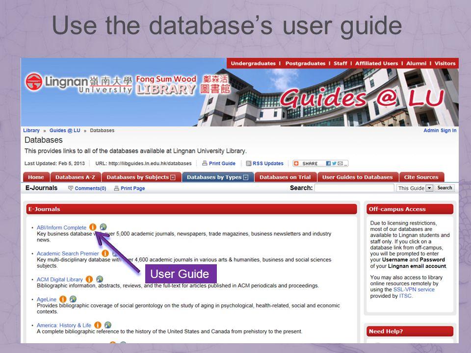 User Guide Use the databases user guide