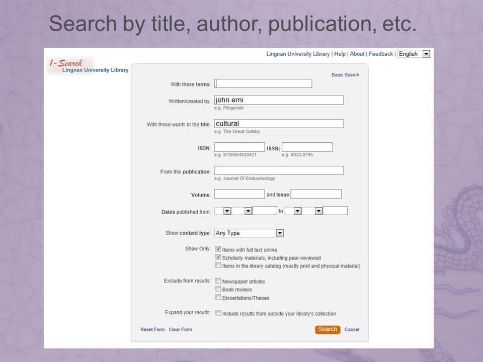 Search by title, author, publication, etc.