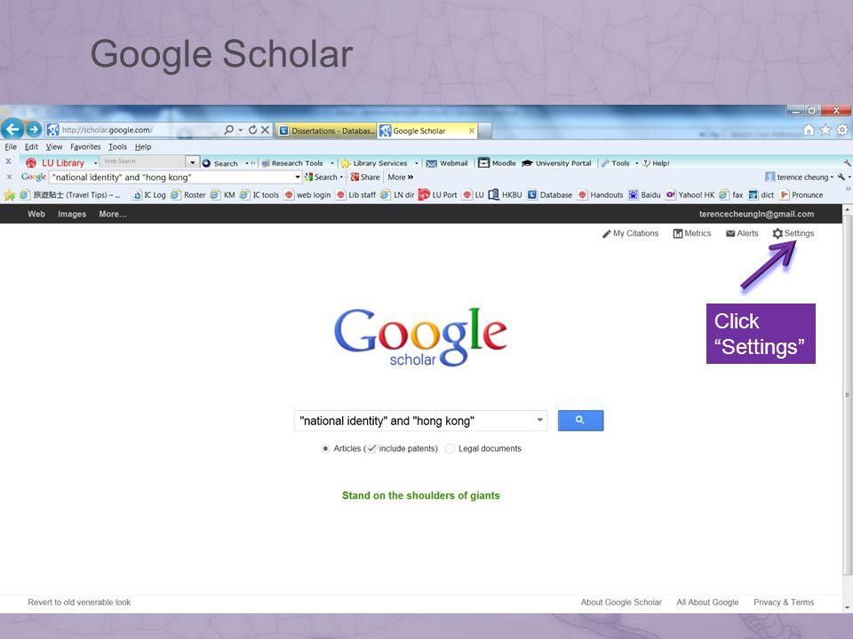 Click Settings Google Scholar