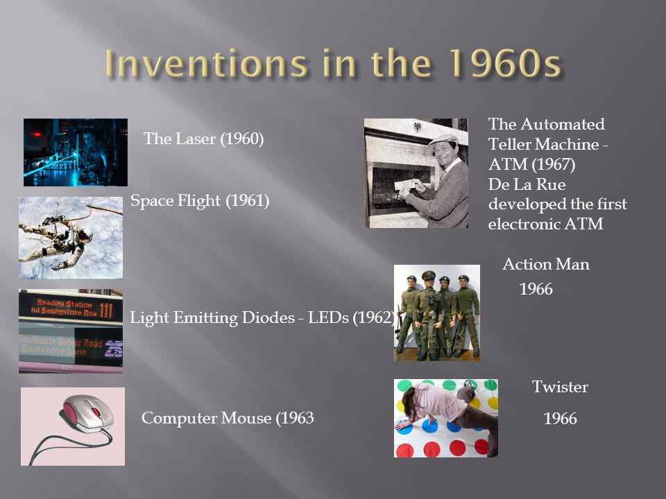 The Laser (1960) Space Flight (1961) Light Emitting Diodes - LEDs (1962) Computer Mouse (1963 The Automated Teller Machine - ATM (1967) De La Rue developed the first electronic ATM Action Man 1966 Twister 1966
