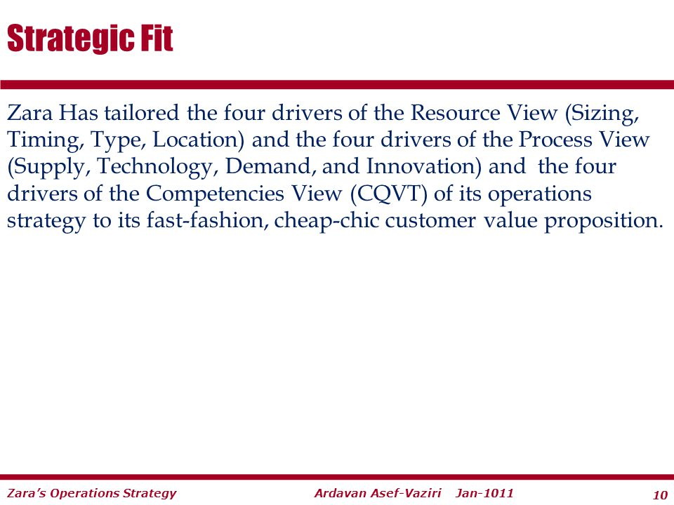 10 Ardavan Asef-Vaziri Jan-1011Zaras Operations Strategy Zara Has tailored the four drivers of the Resource View (Sizing, Timing, Type, Location) and