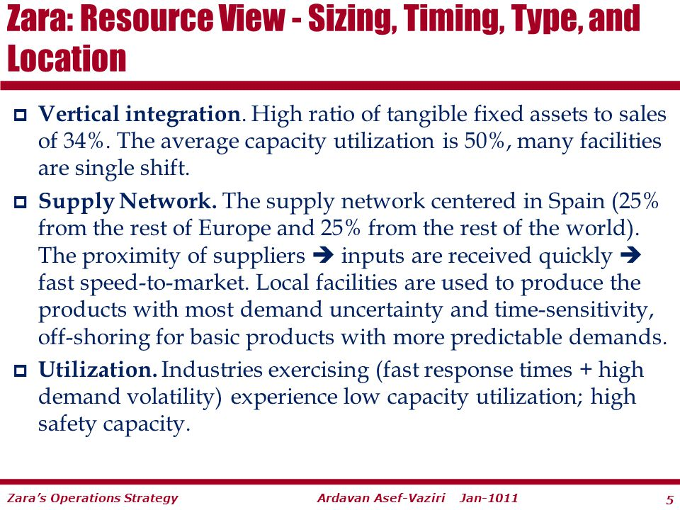 5 Ardavan Asef-Vaziri Jan-1011Zaras Operations Strategy Vertical integration. High ratio of tangible fixed assets to sales of 34%. The average capacit