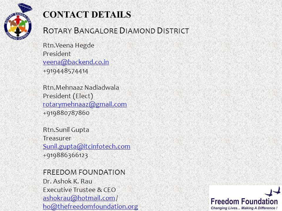 CONTACT DETAILS R OTARY B ANGALORE D IAMOND D ISTRICT Rtn.Veena Hegde President veena@backend.co.in +919448574414 Rtn.Mehnaaz Nadiadwala President (Elect) rotarymehnaaz@gmail.com +919880787860 Rtn.Sunil Gupta Treasurer Sunil.gupta@itcinfotech.com +919886366123 FREEDOM FOUNDATION Dr.