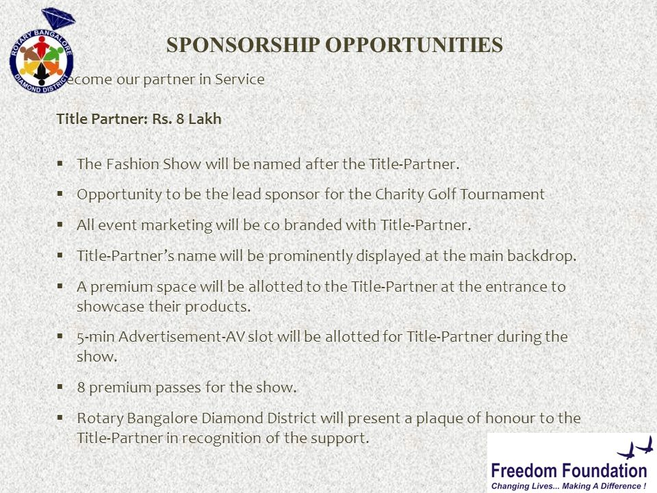 SPONSORSHIP OPPORTUNITIES Become our partner in Service Title Partner: Rs.