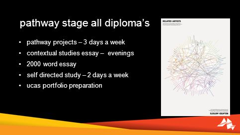 pathway stage all diplomas pathway projects – 3 days a week contextual studies essay – evenings 2000 word essay self directed study – 2 days a week uc