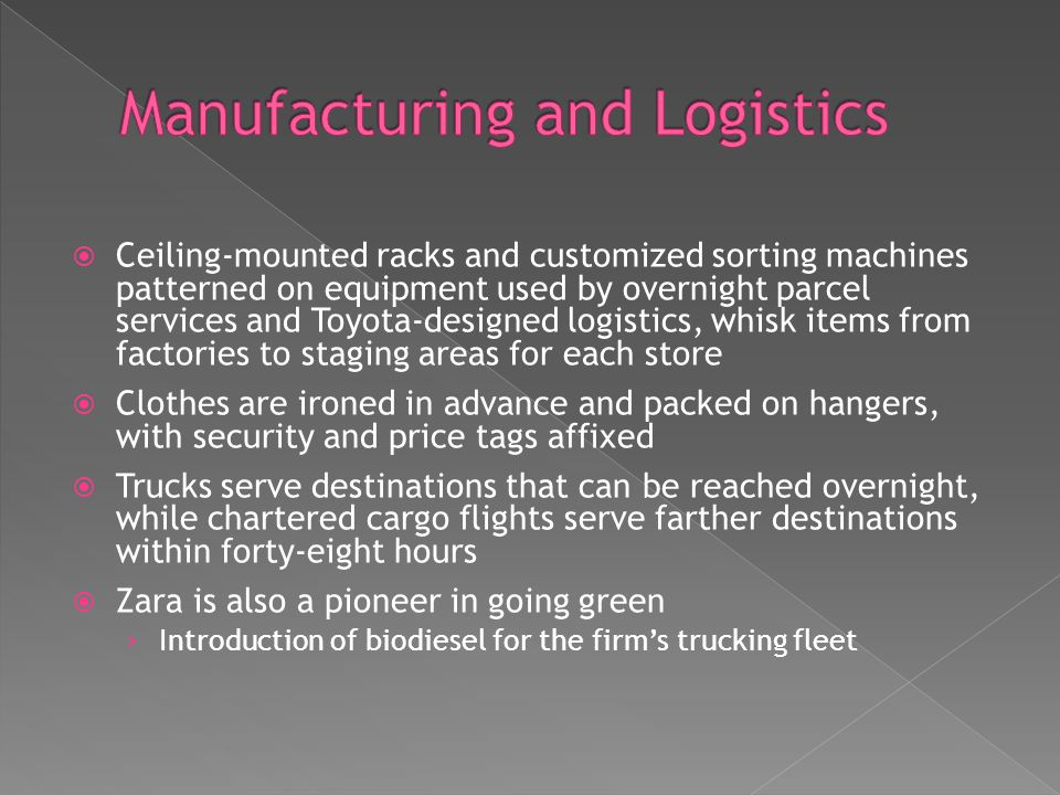 Ceiling-mounted racks and customized sorting machines patterned on equipment used by overnight parcel services and Toyota-designed logistics, whisk it