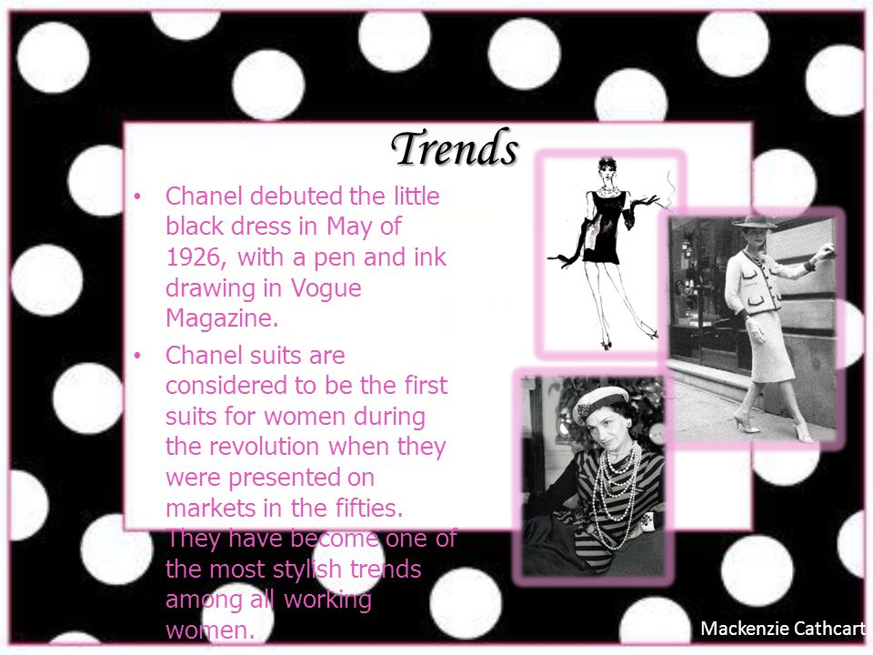 Influence Coco Chanel influenced womens fashion in the 1950s when it came to suits for the working woman.