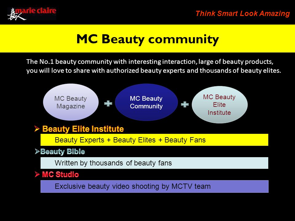 Think Smart Look Amazing The No.1 beauty community with interesting interaction, large of beauty products, you will love to share with authorized beauty experts and thousands of beauty elites.