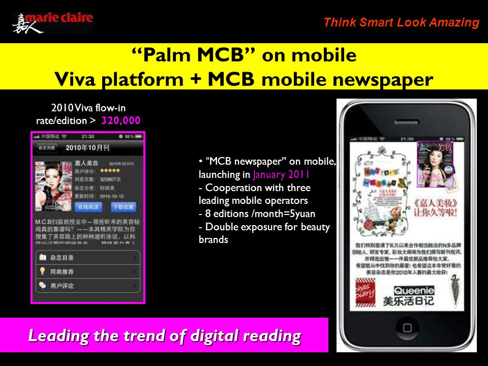 Think Smart Look Amazing Leading the trend of digital reading 2010 Viva flow-in rate/edition 320,000 MCB newspaper on mobile, launching in January Cooperation with three leading mobile operators - 8 editions /month=5yuan - Double exposure for beauty brands Palm MCB on mobile Viva platform + MCB mobile newspaper