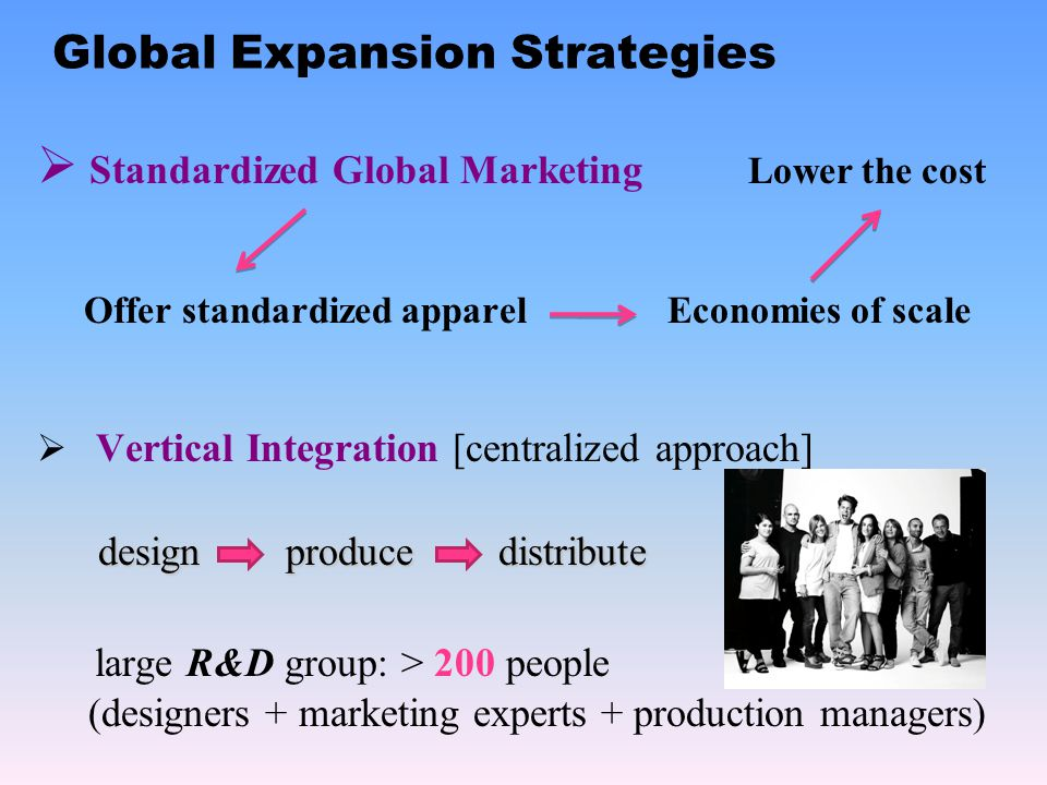 Global Expansion Strategies Standardized Global Marketing Lower the cost Offer standardized apparel Economies of scale Vertical Integration [centralized approach] design produce distribute design produce distribute large R&D group: > 200 people (designers + marketing experts + production managers)