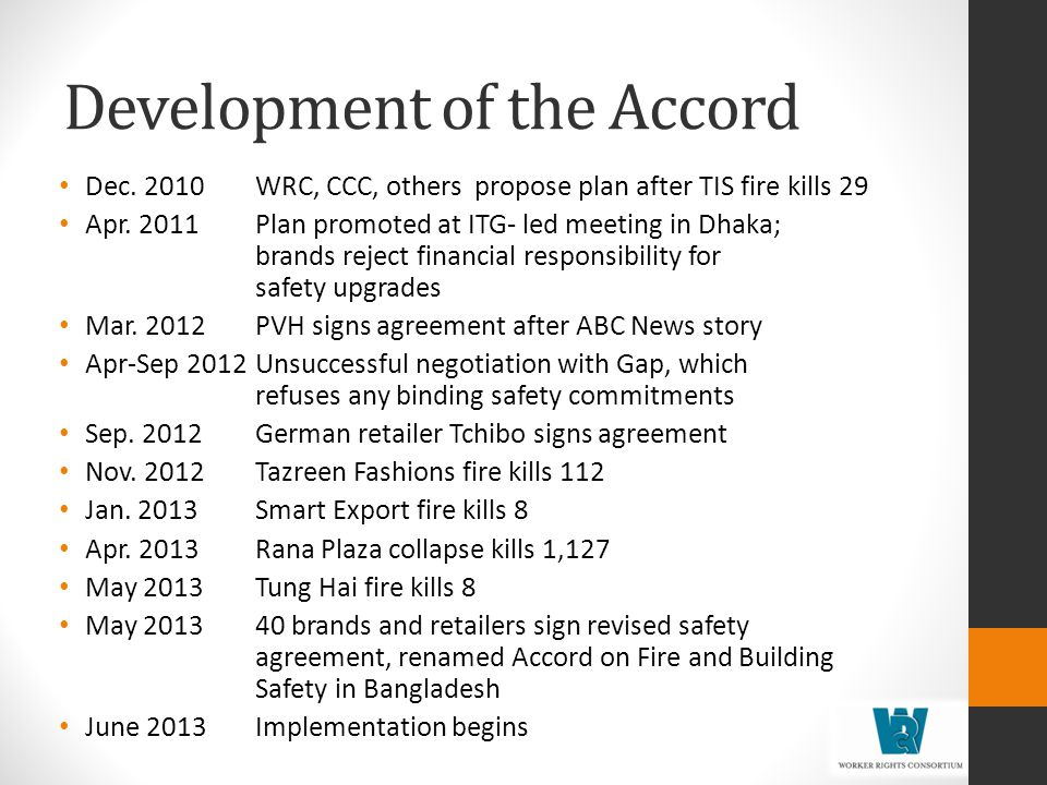 Development of the Accord Dec.2010WRC, CCC, others propose plan after TIS fire kills 29 Apr.