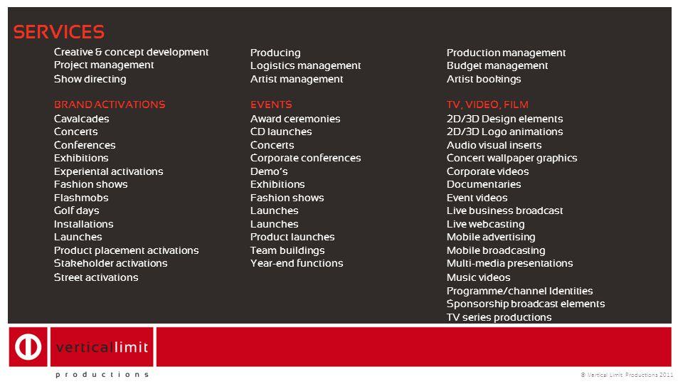 Creative & concept development ProducingProduction management Project management Logistics managementBudget management Show directingArtist management