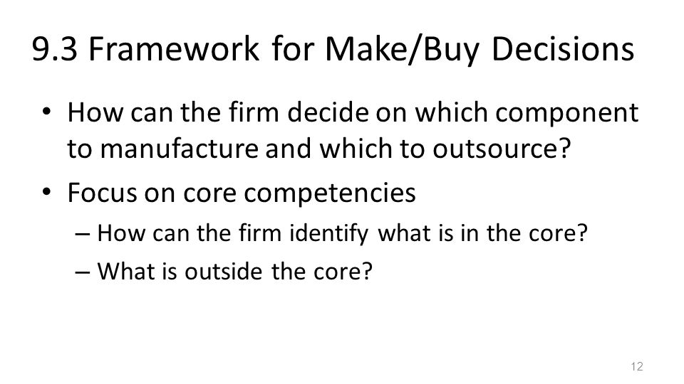 9.3 Framework for Make/Buy Decisions How can the firm decide on which component to manufacture and which to outsource.