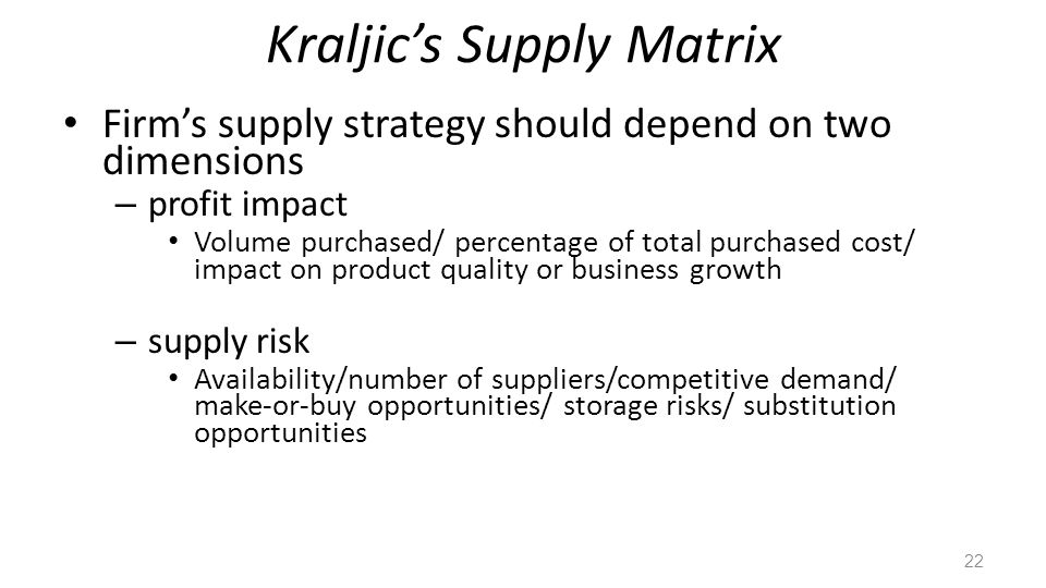 Kraljics Supply Matrix Firms supply strategy should depend on two dimensions – profit impact Volume purchased/ percentage of total purchased cost/ impact on product quality or business growth – supply risk Availability/number of suppliers/competitive demand/ make-or-buy opportunities/ storage risks/ substitution opportunities 22
